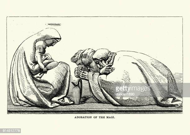 adoration of the magi, by john flaxman - three wise men stock illustrations, clip art, cartoons, & icons