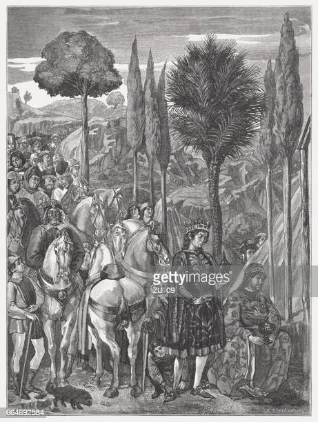 adoration of the magi, painted (1468-83) by benozzo gozzoli, pisa - high renaissance stock illustrations