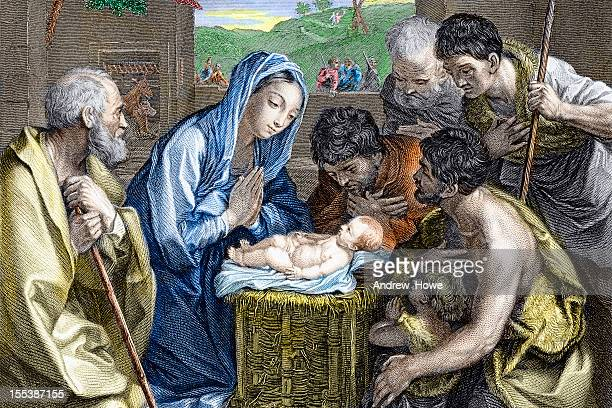 adoration of the shepherds -  nativity - jesus christ stock illustrations, clip art, cartoons, & icons
