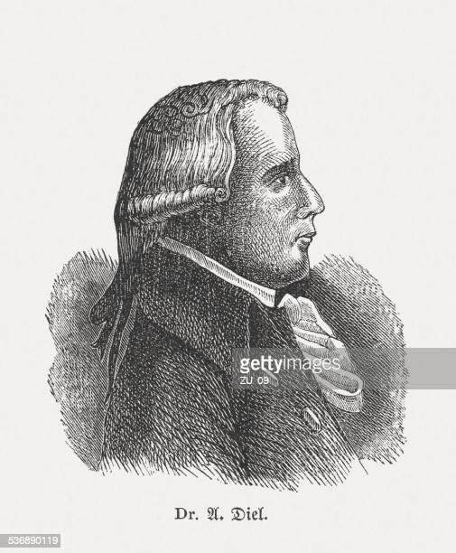 adrian diel (1756-1839), german physician, wood engraving, published in 1882 - landscape gardener stock illustrations, clip art, cartoons, & icons