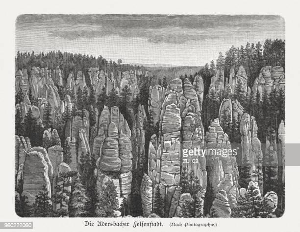 adršpach-teplice rocks (adršpašsko-teplické skály), czech republic, wood engraving, published 1897 - sandstone stock illustrations, clip art, cartoons, & icons