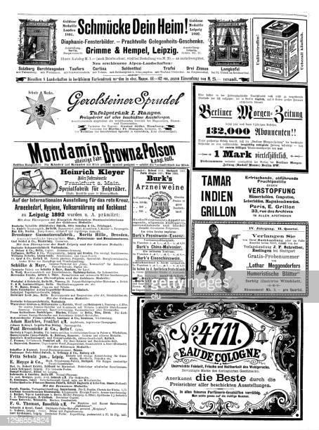 ドイツの雑誌で1892年からの広告,4711オー・ド・ケルンを含む - ヨーロッパ文化点のイラスト素材/クリップアート素材/マンガ素材/アイコン素材