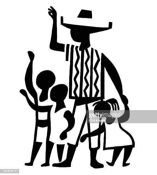 adult and children waving - sombrero stock illustrations