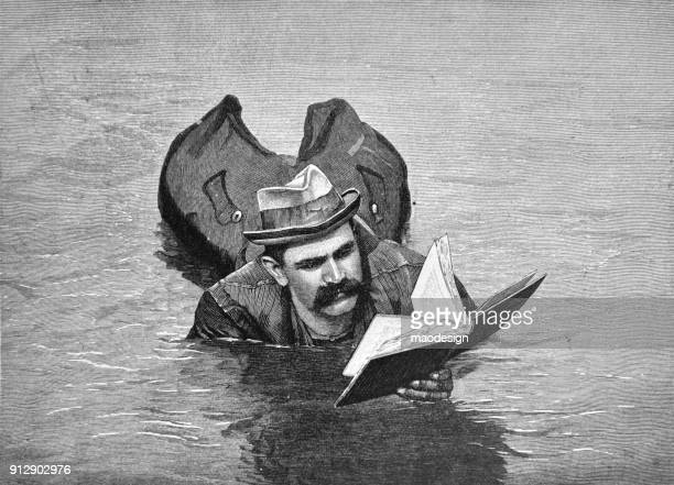 Adult man is lying in the water and reads the book - 1896