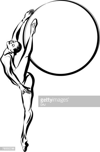 Adult Women do Rhythmic Gymnastics, Pen and Ink
