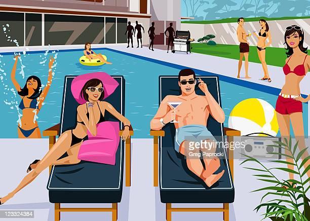 ilustraciones, imágenes clip art, dibujos animados e iconos de stock de adults at pool party - pool party