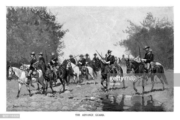 advance guard - cavalry stock illustrations