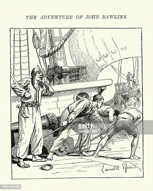 adventure of john rawlins and the barbary pirates 1621 - pirate criminal stock illustrations