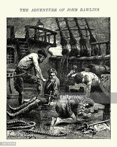 adventure of john rawlins and the barbary pirates 1621 - 17th century stock illustrations, clip art, cartoons, & icons
