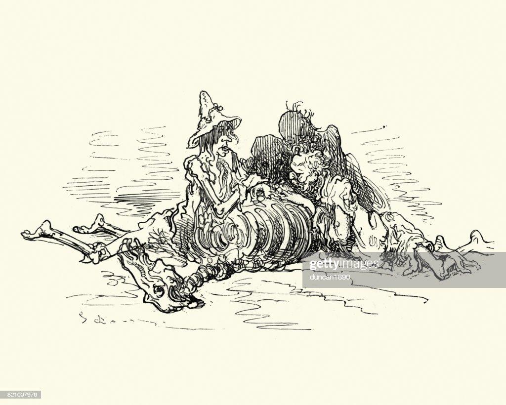 Adventures of Baron Munchausen, dying of hunger : stock illustration