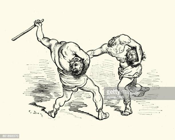 adventures of baron munchausen, headless men fighting - woodcut stock illustrations, clip art, cartoons, & icons