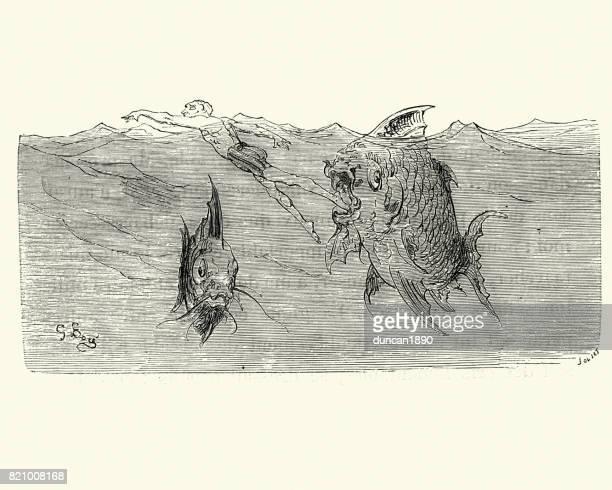 Äventyr av Baron Münchausens, förtäring av fisk
