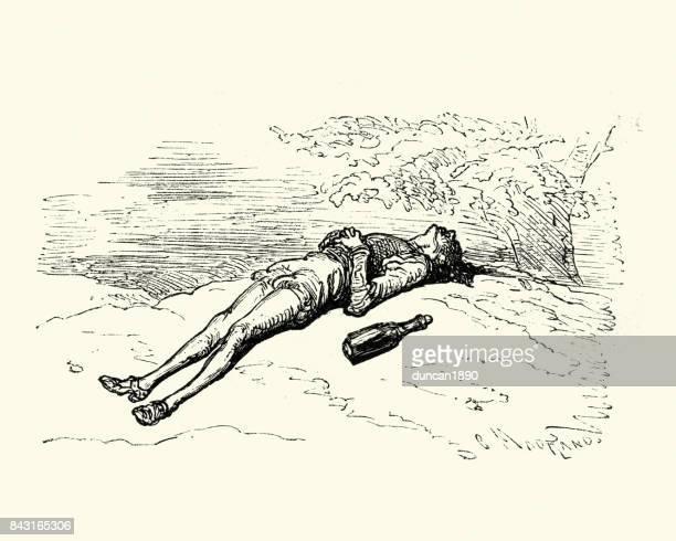 ilustrações, clipart, desenhos animados e ícones de aventuras do barão de munchausen, o bêbado dormindo - bêbado