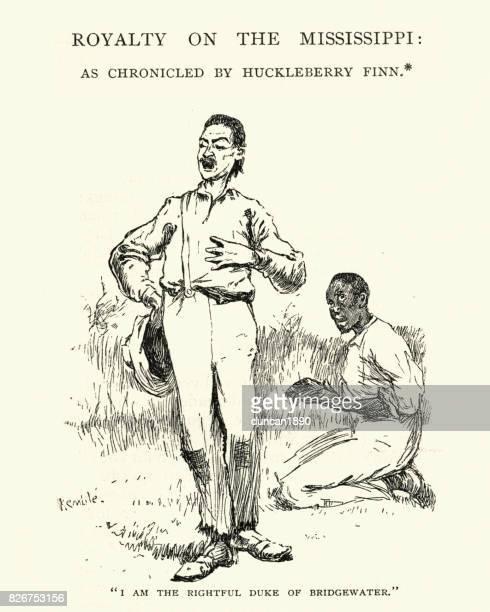 bildbanksillustrationer, clip art samt tecknat material och ikoner med adventures of huckleberry finn, hertig av bridgewater - duke