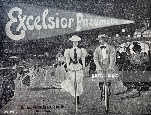 bildbanksillustrationer, clip art samt tecknat material och ikoner med reklamaffisch för cykeldäck - partire