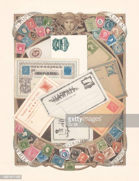 advertising poster for the postal service, lithograph, published in 1885 - post office stock illustrations, clip art, cartoons, & icons