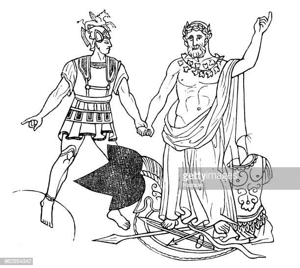 aeneas and king latinus - athens georgia stock illustrations, clip art, cartoons, & icons