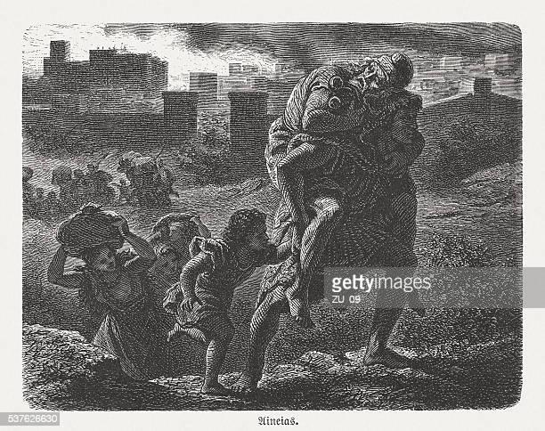 aeneas flees from the burning troy, greco-roman mythology - trojan war stock illustrations, clip art, cartoons, & icons