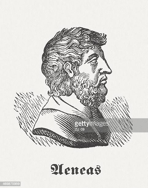 aeneas, hero from the greek-roman mythology, wood engraving, published 1864 - athens georgia stock illustrations, clip art, cartoons, & icons