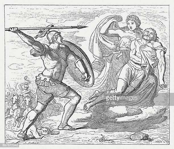 aeneas rescued by aphrodite before the mighty diomedes, greek mythology - trojan war stock illustrations, clip art, cartoons, & icons