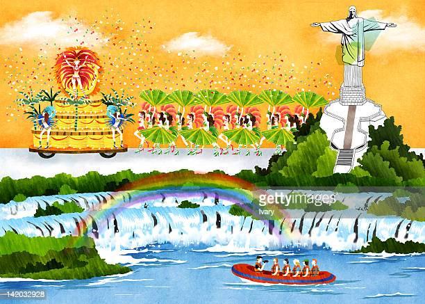 aerial landscape of rio de janeiro - planta de vaso stock illustrations