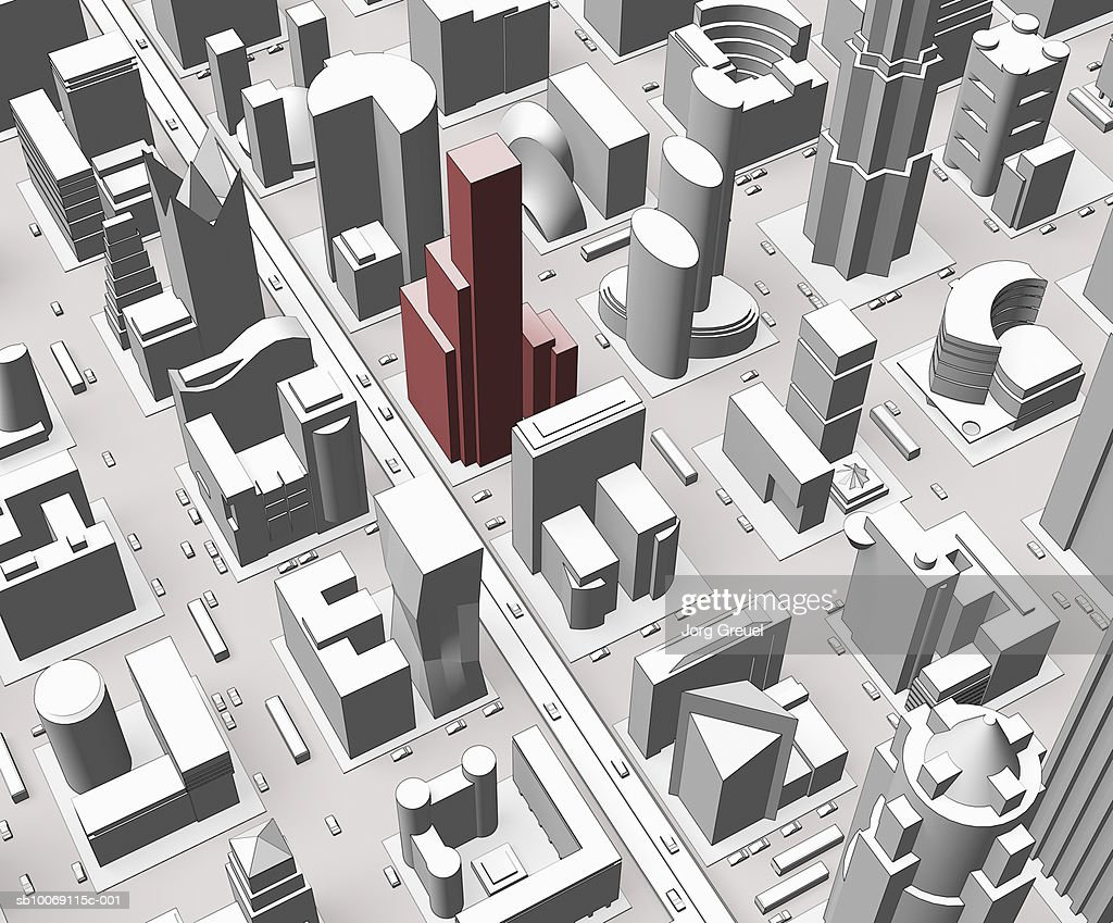 Aerial view of city (digitally generated) : Stockillustraties