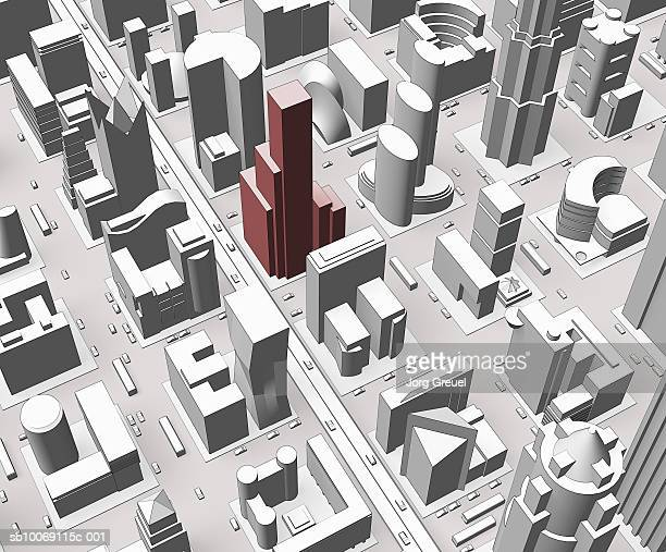 aerial view of city (digitally generated) - tall high stock illustrations