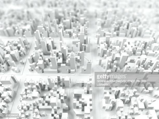aerial view of city, illustration - digitally generated image stock illustrations
