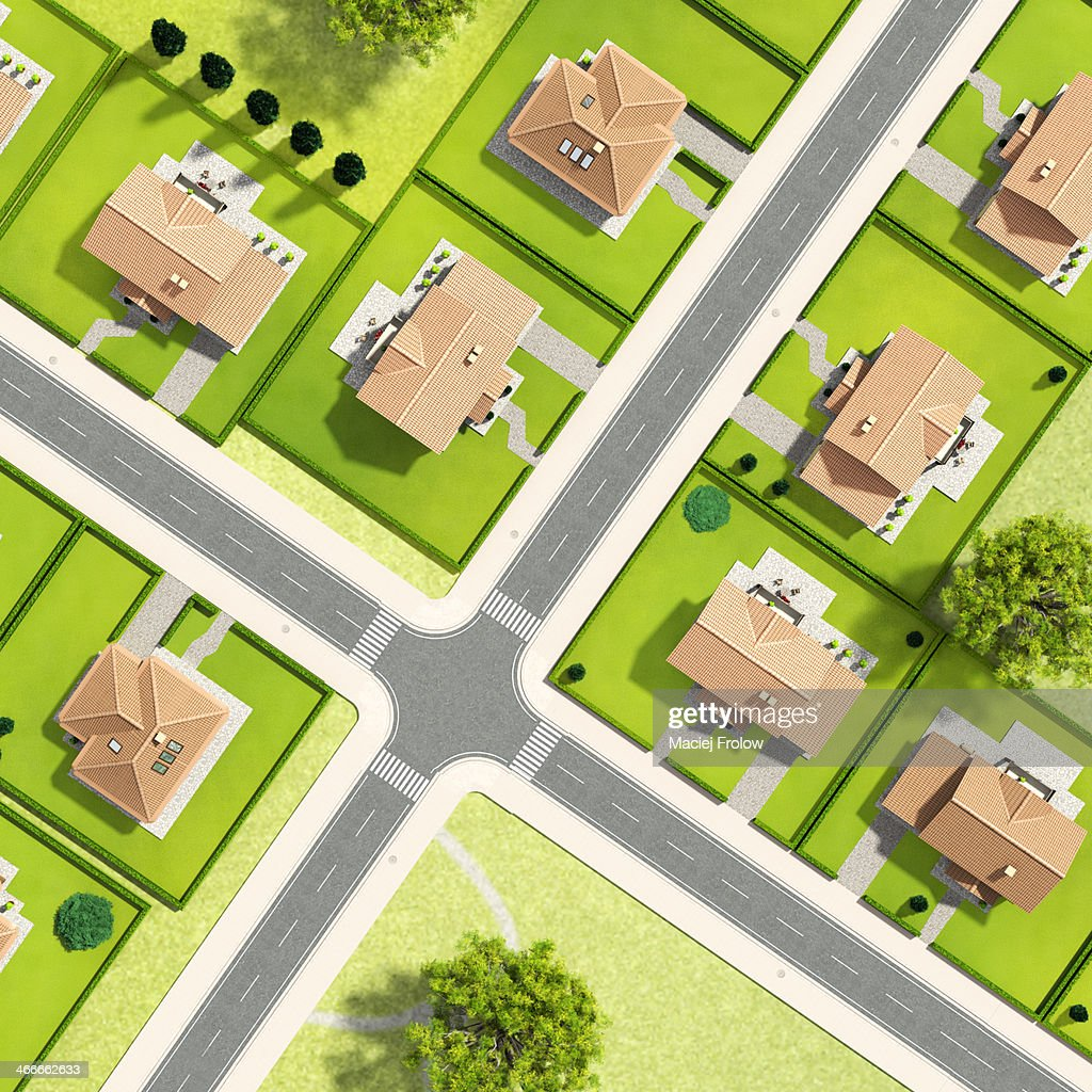 Aerial view of houses : stock illustration