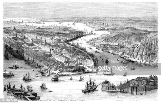 Aerial view of New York United States 1858