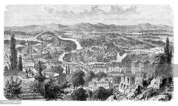 Aerial view of Rome with tiber river Italy 1878