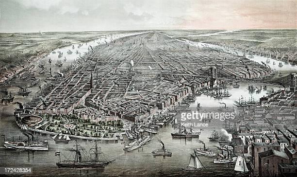 空から見たヴィンテージ new york - 19世紀風点のイラスト素材/クリップアート素材/マンガ素材/アイコン素材