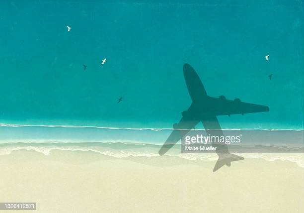aerial view shadow of airplane over sunny blue ocean beach - illustration stock illustrations