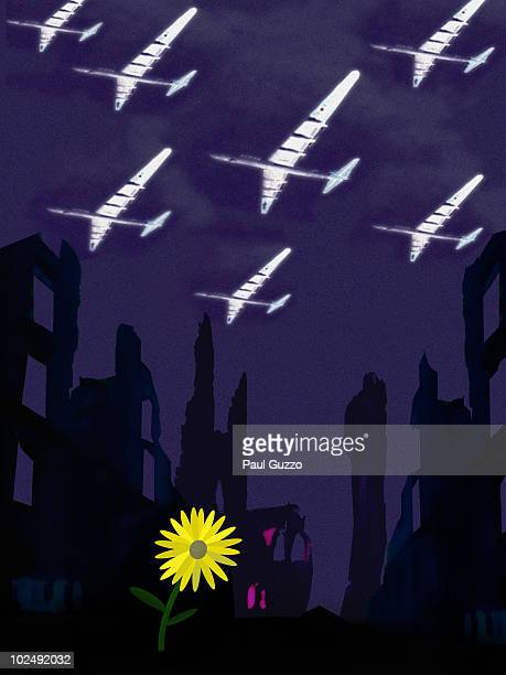 aeroplanes flying over buildings and single yellow daisy - medium group of objects stock illustrations, clip art, cartoons, & icons