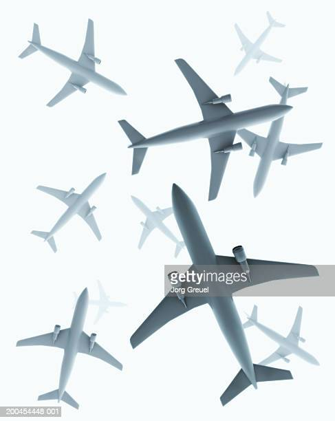 aeroplanes, view from below - low angle view stock illustrations