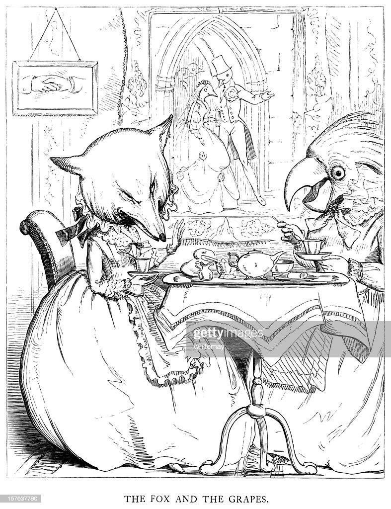 Esopo s Fábulas-The Fox e uvas : Ilustração de stock