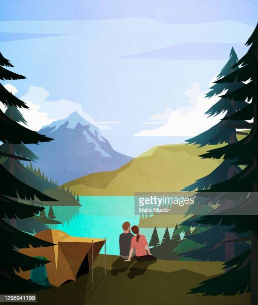 affectionate couple relaxing at idyllic remote lakeside campsite - leisure activity stock illustrations