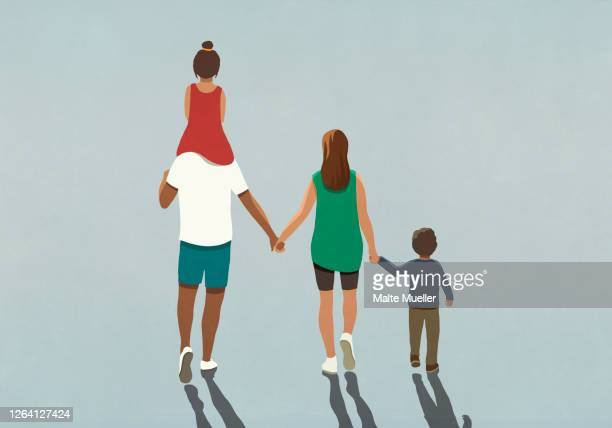 affectionate family holding hands and walking - {{relatedsearchurl(carousel.phrase)}} stock illustrations