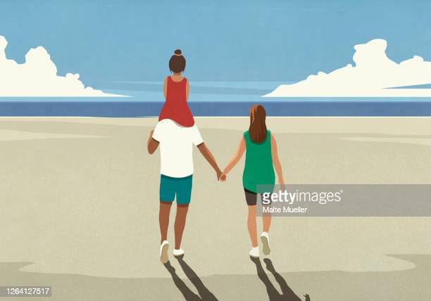 affectionate family walking on tranquil sunny summer ocean beach - family stock illustrations
