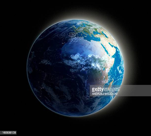 africa and europe, night-day artwork - planet earth stock illustrations
