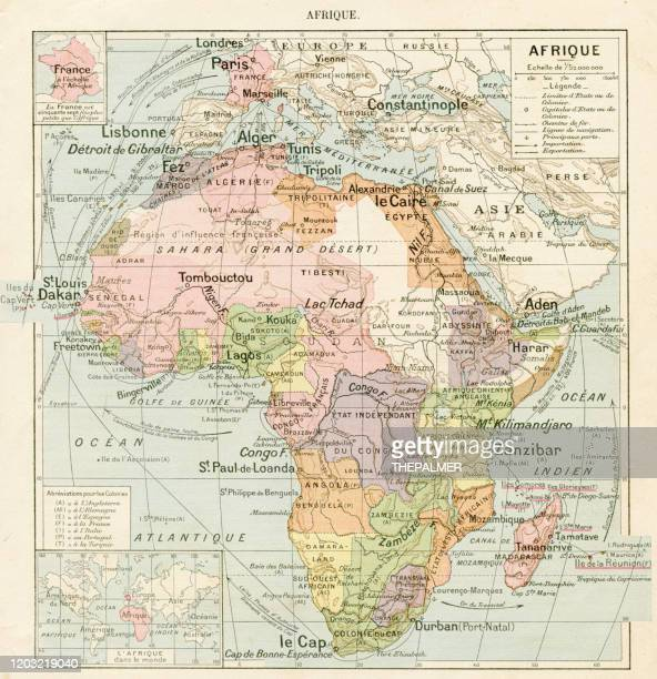 africa map 1887 - horn of africa stock illustrations