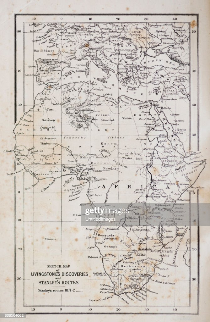19th Century Africa Map.Africa Map From 19th Century Stock Illustration Getty Images