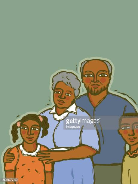 African american children with their grandparents