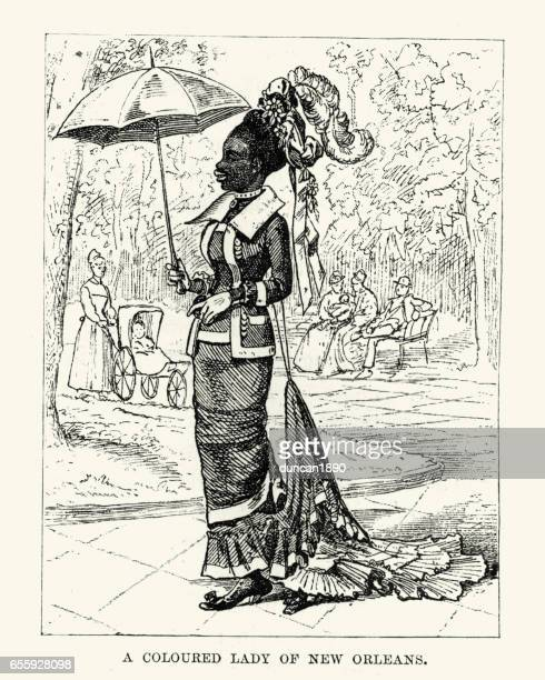african american lady of new orleans, 19th century - 19th century stock illustrations