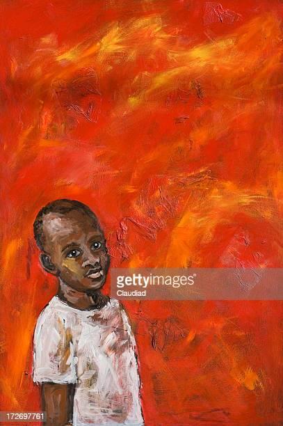 ilustraciones, imágenes clip art, dibujos animados e iconos de stock de african boy sobre fondo rojo - africano americano