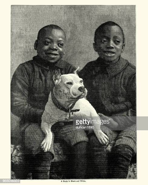 African boys with their pet dog, 19th Century