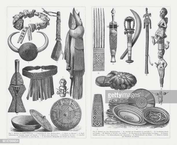 african culture devices and products, wood engravings, published in 1897 - ethiopia stock illustrations, clip art, cartoons, & icons