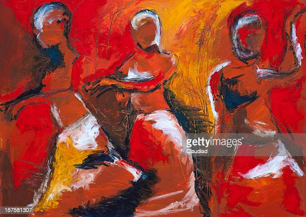 african dancers - painted image stock illustrations