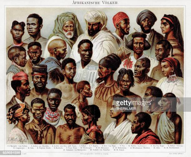 Chromolithographie d'ethnie africaine 1895