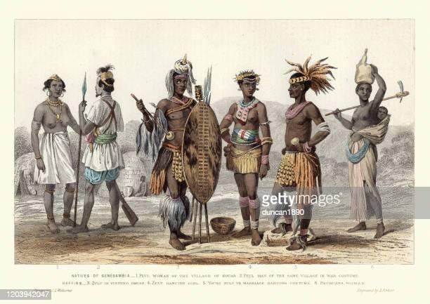 african fashions costumes, senegambia, zulu men and women, 1870s - zulu women stock illustrations